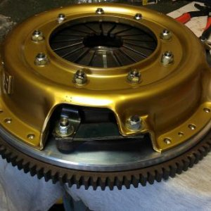 Bitsa clutch and aluminium flywheel ready to install.