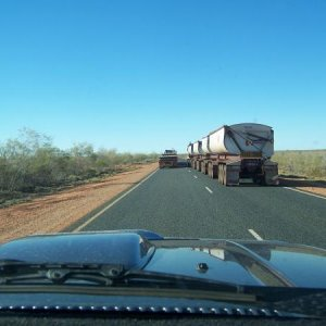 Road train overtaking road train