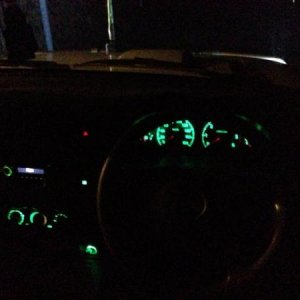 Green LED dash conversion in progress, just missing middle gauge in pillar and the digital voltmeters.